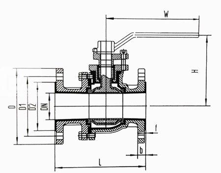 衬氟球阀结构图